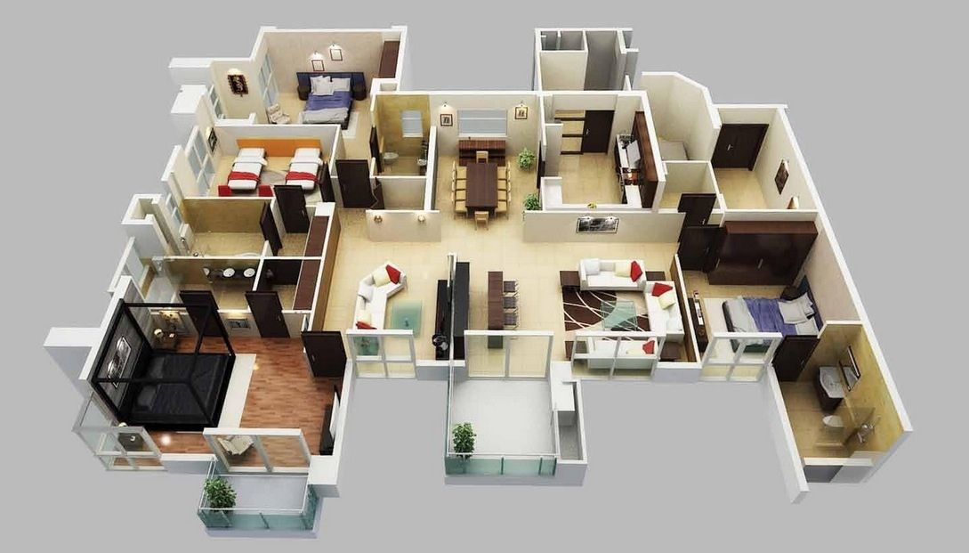50 four 4 bedroom apartment house plans bedroom for Apartment design plans 3d
