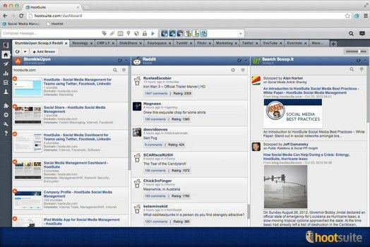HootSuite StumbleUpon, reddit and Scoop.it to its