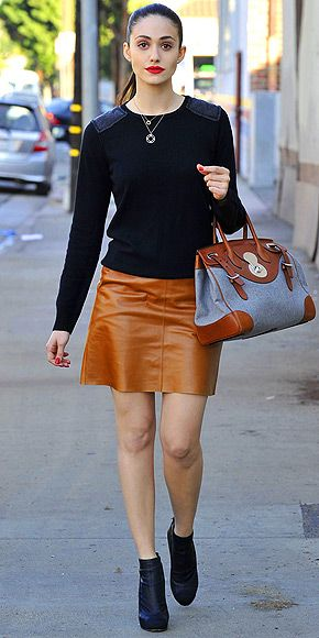 2e162dfa1a EMMY ROSSUM Things that will never get old: George Clooney, cat videos and  pairing a black sweater (this one's Michael Stars) and a tan leather skirt  ...
