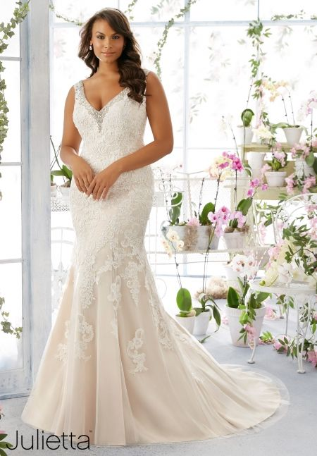 Plus Size Wedding Dress 3195 Diamant and Pearl Beaded Edging Trims ...