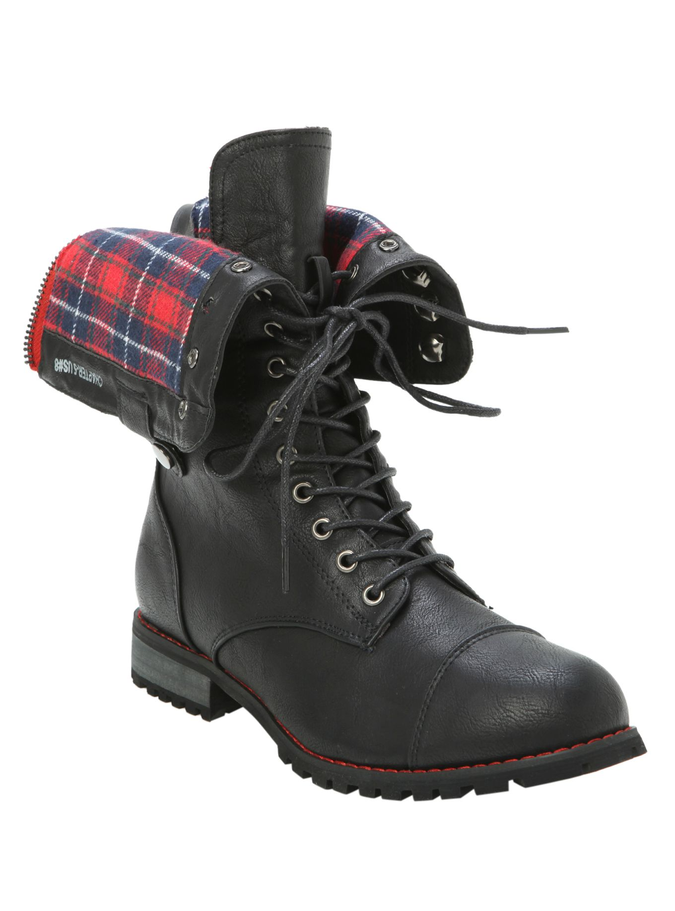 Red And Black Combat Boots - Boot Hto