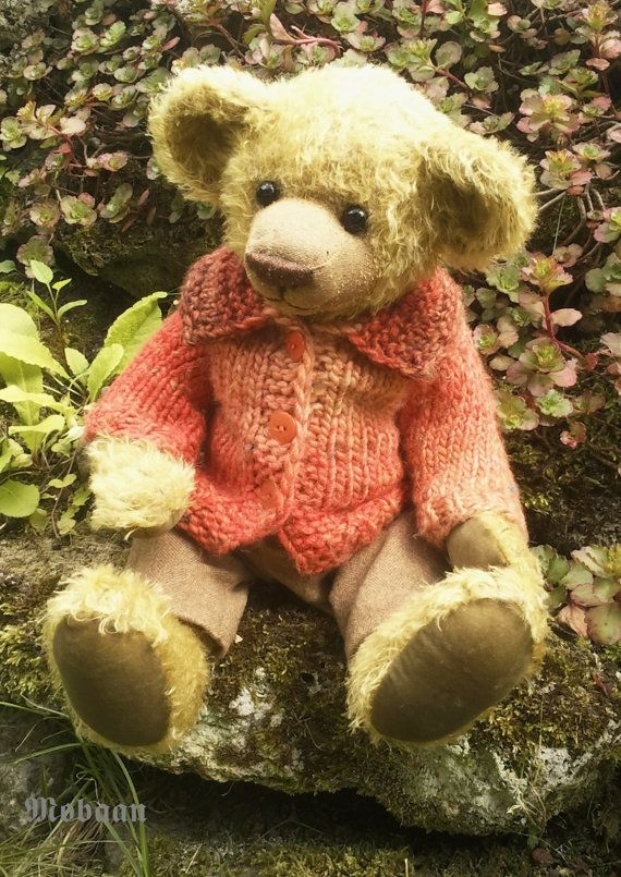 Mohair Bear with knitted jacket out color gradient yarn by Mobaan, €165.00