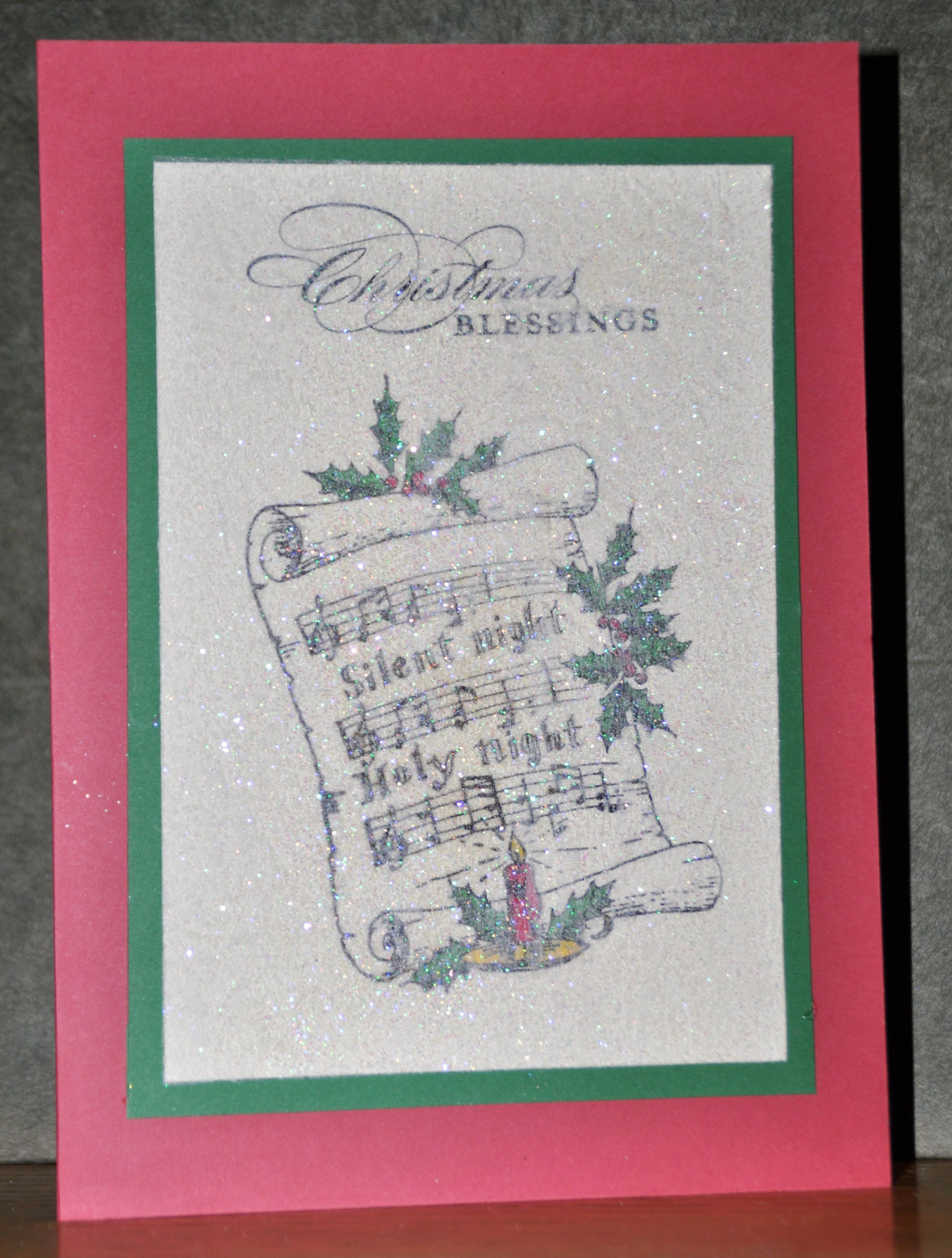 Silent Night Christmas Card New Dryer Sheet Used For Crystal Looking Background In 2020 Silent Night Christmas Card Christmas Card Template Christmas Card Inspiration