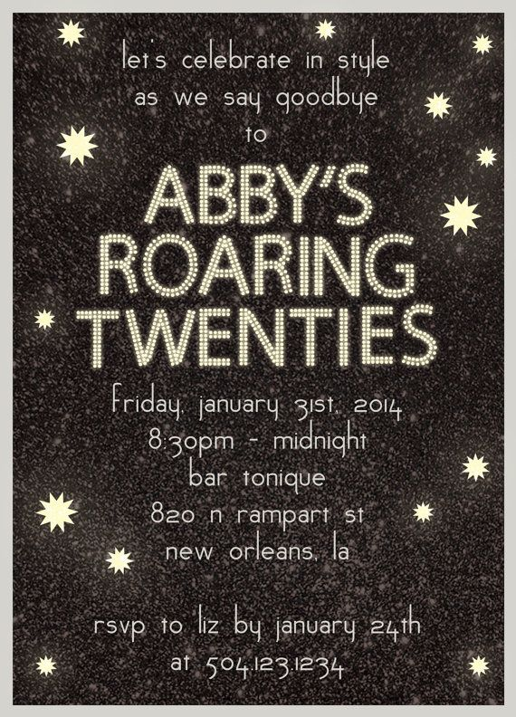 Birthday Party Invitation - Roaring Twenties - DIY Printable ...