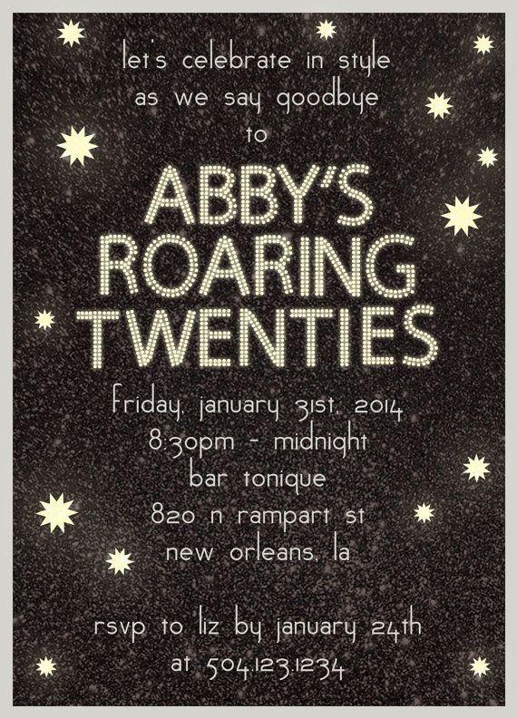 Birthday Party Invitation Roaring Twenties DIY Printable