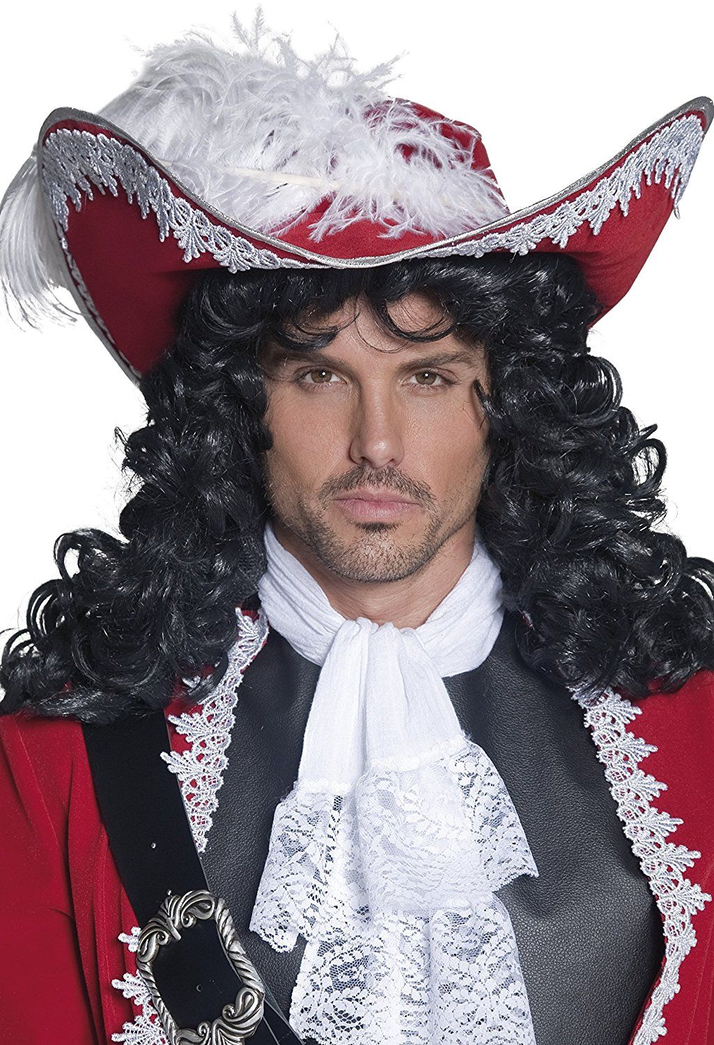 020407518ff Men s White Lace Trim Red Captain Hook Pirate Hat
