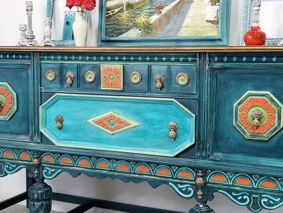 Furniture, Hand Painted, VIntage Buffet, Painted Buffet, Colorful Buffet | Etsy Debi's Design Diary, Color inspiration