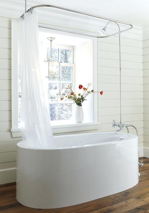 Beautiful Modern All White Bathroom Shower Curtain Freestanding