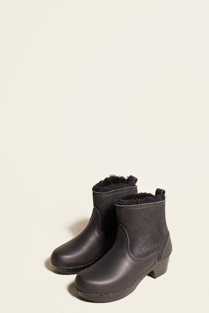 """5"""" Pull on Shearling Boot on Mid Heel in Double Black Aviator on Black Base"""