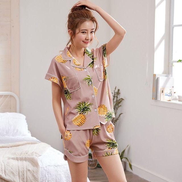 0bd202b70c41 2018 Summer Pijamas Women Pajamas Shorts Set Female Cute Pyjamas Women Sexy Night  Suit Cotton Casual Sleepwear Big Yard M-XXL Review