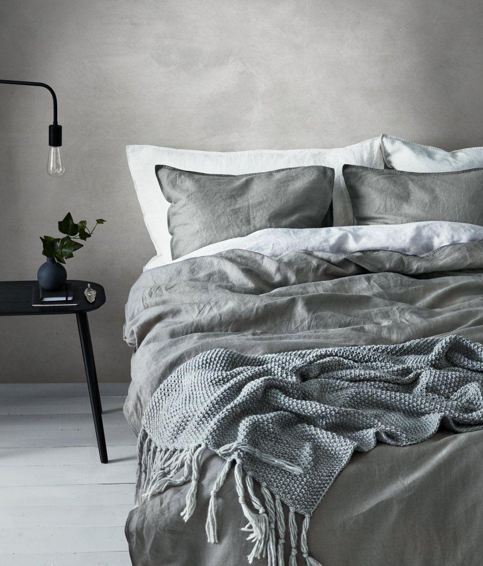 Hochwertig Bettwäsche Aus Leinen | Grau | Hu0026m Home | Hu0026M DE