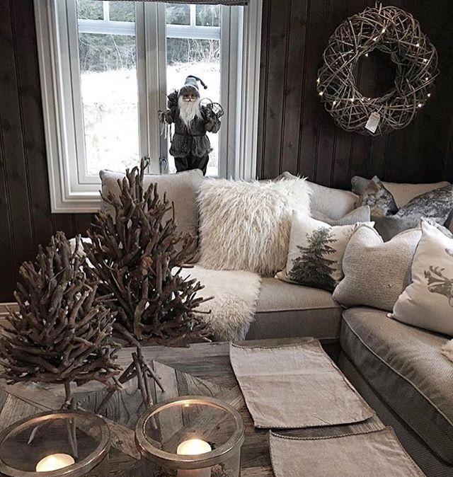 Salon Cosy Gris Et Blanc Decoration Noel Home Home Decor Cozy