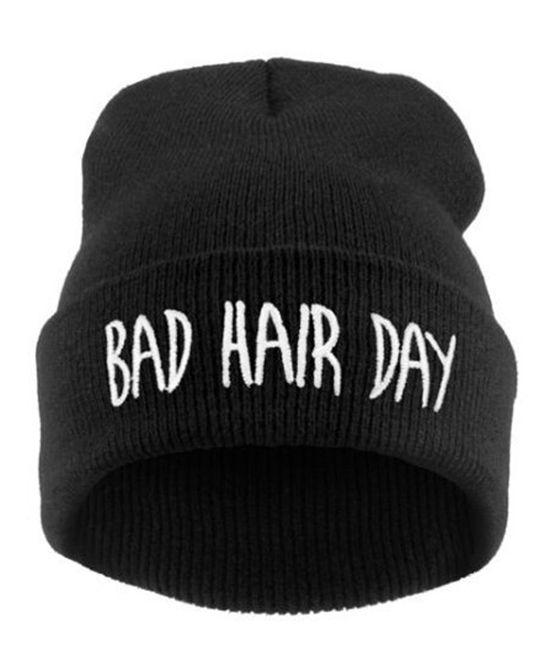 e9741ed3b6411 Letter Print Woolen Hat | School | Bad hair day beanie, Bad hair day ...
