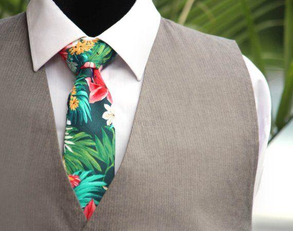 3dd3b5c7eced Mens Necktie Hawaii Tropical Floral Tie Hibiscus flower mens Tie Mens Ties  Necktie Wedding TC295