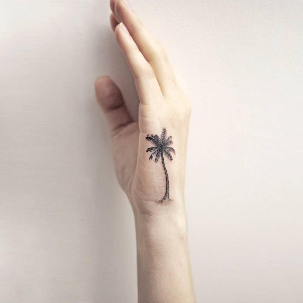 Little Palm Tree On The Side Of A Hand Tattoo Artist Zlata Kolomoyskaya Goldy Z Tattoosonback Palm Tattoos Tattoos Hand Tattoos