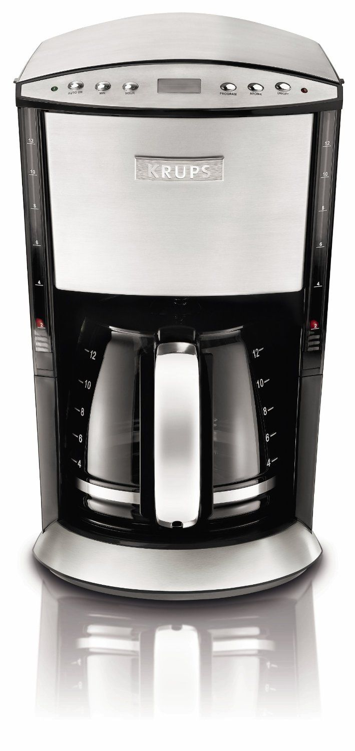 Krups Km720d50 Programmable Coffee Maker With Stainless Steel Housing 12 Cup Silver