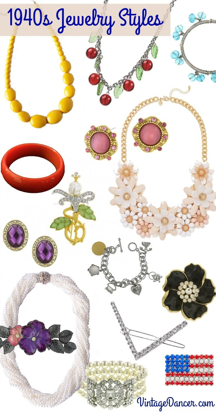 New 1940s Costume Jewelry: Necklaces, Earrings, Pins in ...