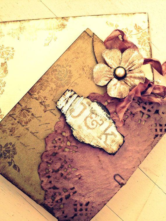 Vintage wedding invitation handmade hand stamped by for Pinterest hochzeitseinladung