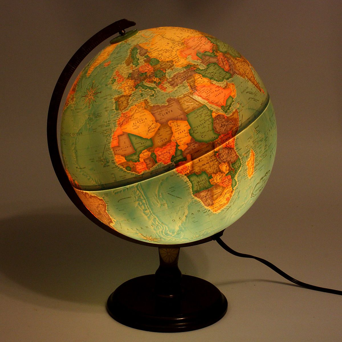 retro light up word globe on stand lamp globe retro and industrial