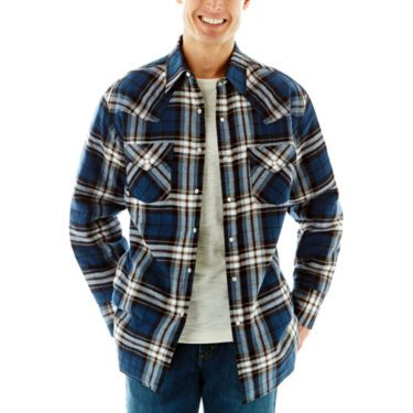 Blue Plaid - Ely Cattleman® Quilted Flannel Shirt Jacket - Snap ...