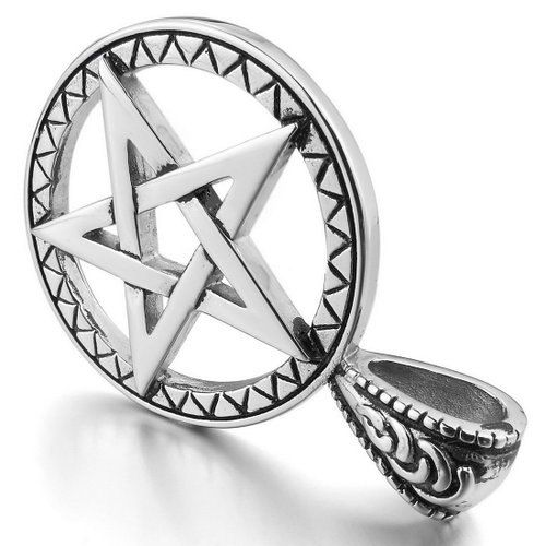 Men's Stainless Steel Silver Pentagram Pentacle Star by MakeCharms