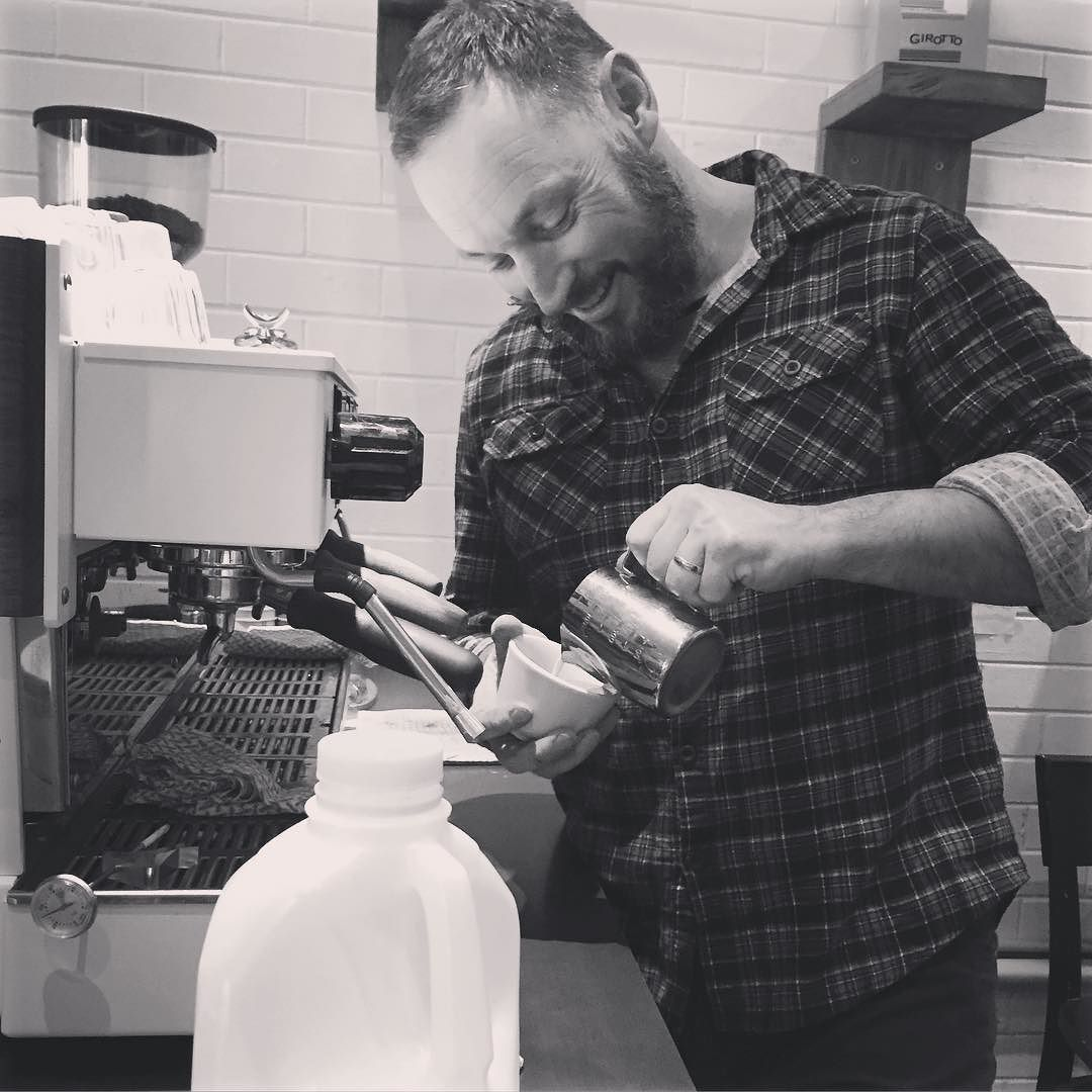 "After doing an amazing install of hand made custom shelves Sean rewards himself by making his own coffee. Practicing on big boy toys! Thanks Sean they look ""trick as"". #practicingskills #flatwhite #slitticafeportfairy #handmade #custombuilt #lamarzoccolinea #youvegotthelook #baristabeard #greatjob #portfairy #slitti by ktgirl1998"