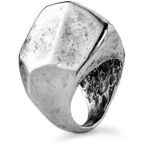 Low Luv by Erin Wasson Boulder Ring in Silver found on Polyvore