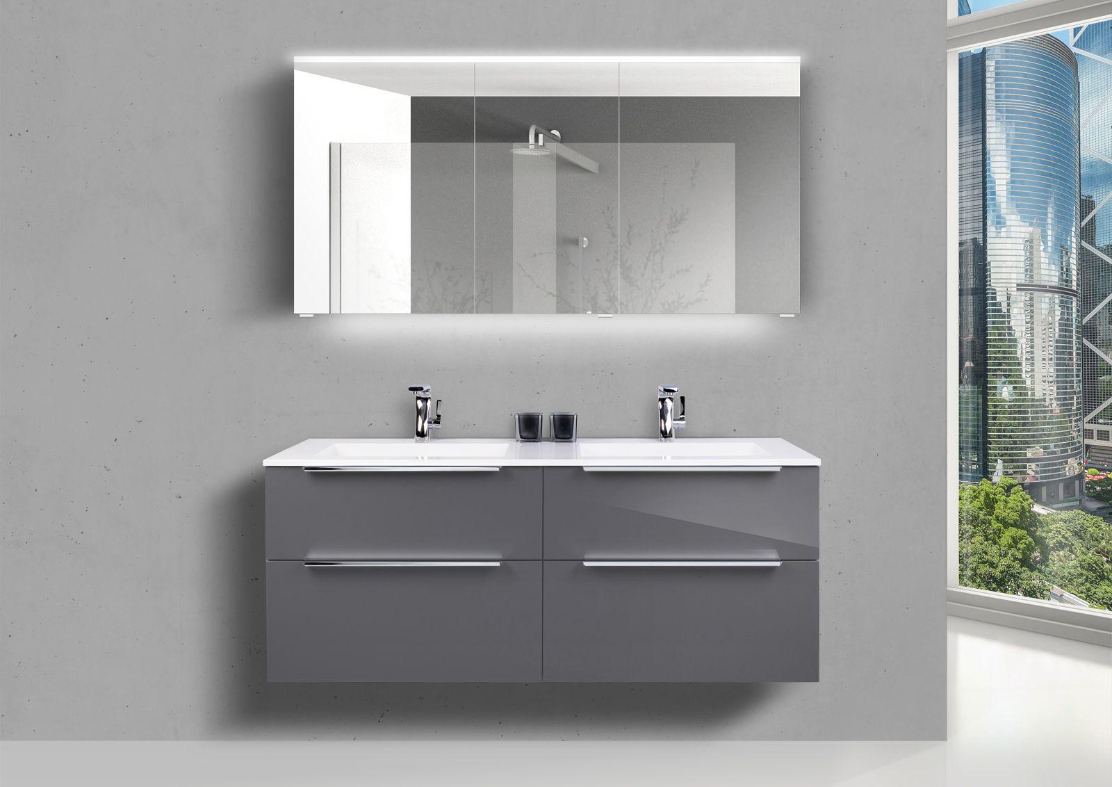 Design Badezimmer Set Mit Doppelwaschbecken Neuheit 2020 In 2020 Doppelwaschtisch Spiegelschrank Spiegelschrank Led