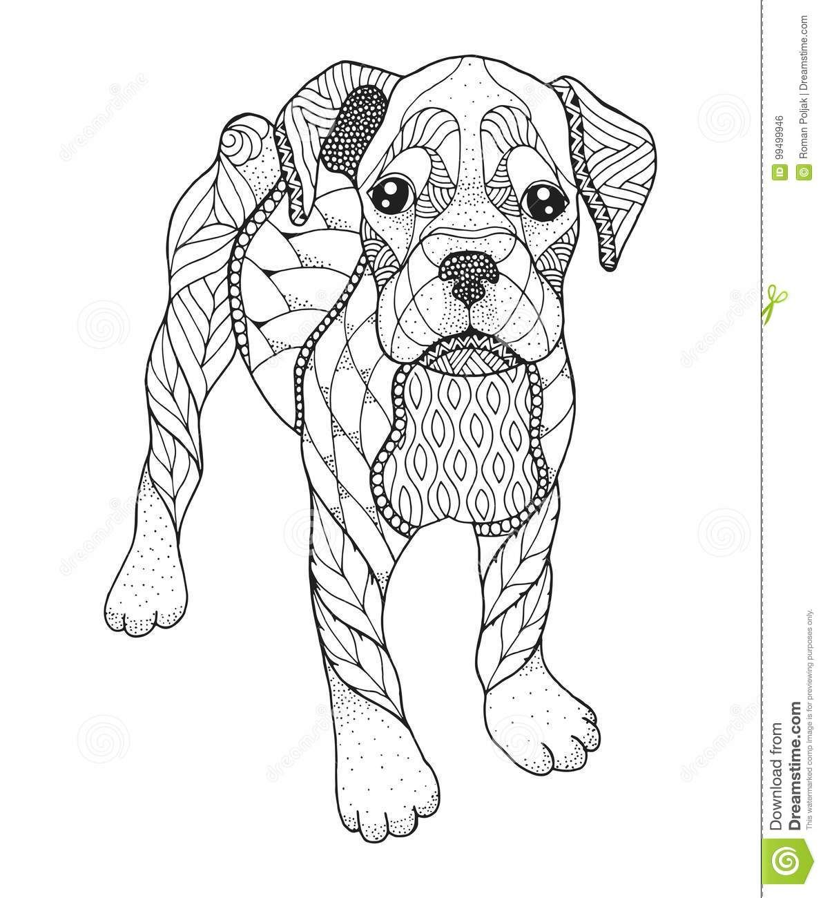 Boxer Dog In Zentangle And Stipple Style Vector Illustration Stock Vector Illustration Of Coloring Animal Dog Coloring Page Dog Coloring Book Dog Drawing