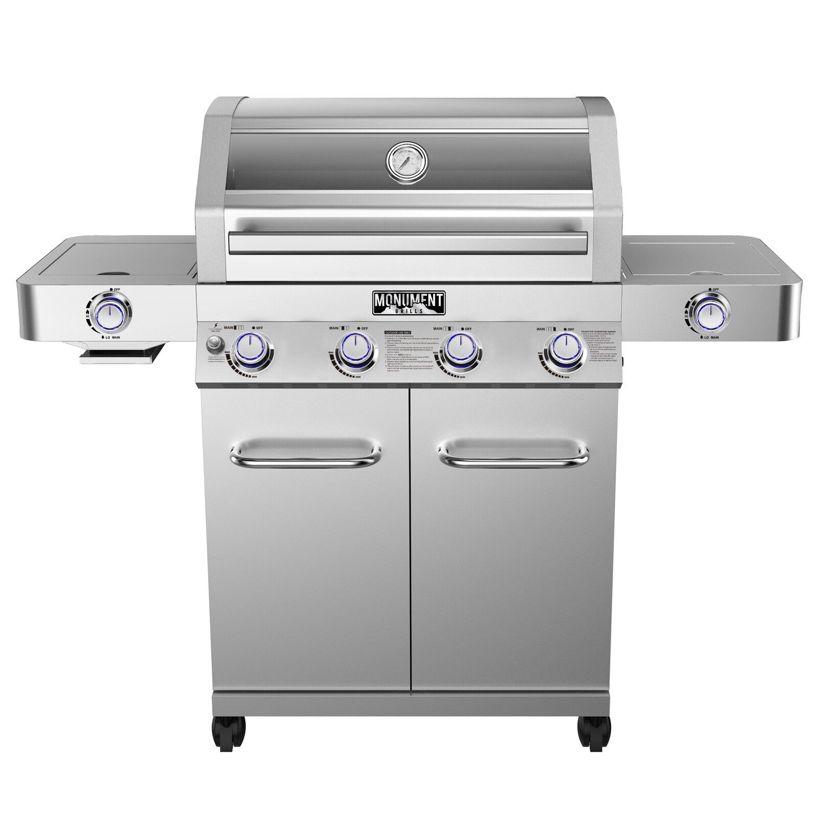 4burner propane gas grill with side burner and