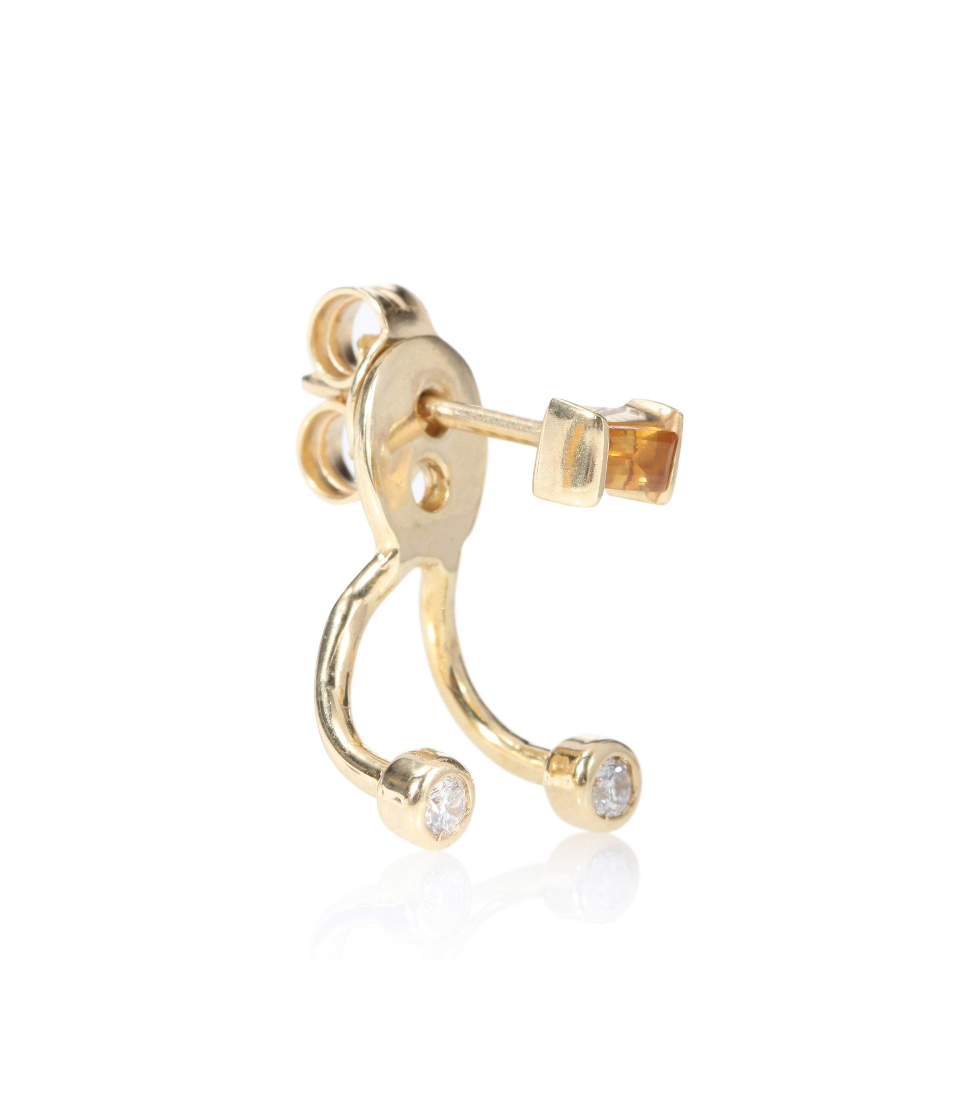 Trio Baguette 9kt gold, citrine and white diamonds earring Aliita