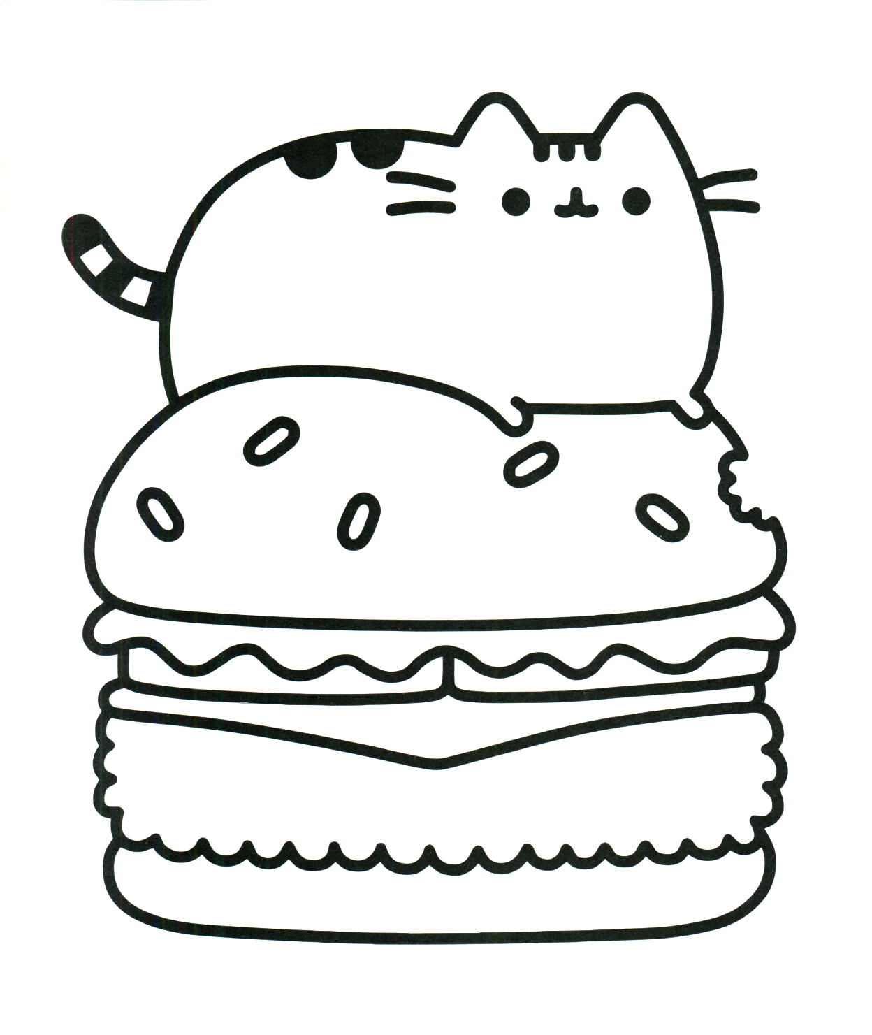 Kittyburger Kawaii Coloring Pages Cartoon Coloring Pages Unicorn Coloring Pages Pusheen Coloring Pages