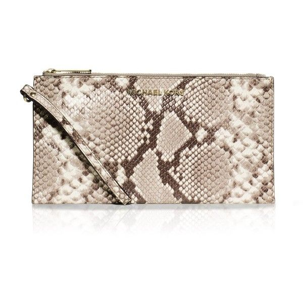 73f77fe27597 Michael Michael Kors Bedford Snake-Embossed Large Zip Wristlet ($118) ❤  liked on Polyvore featuring bags, handbags, clutches, pink clutches,  wristlet purse ...