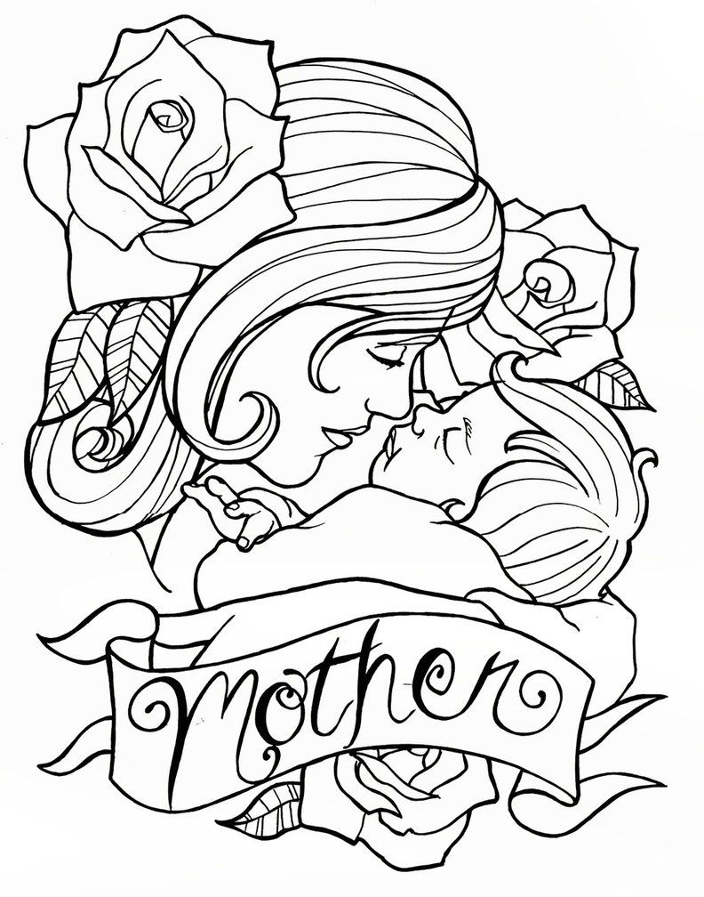 Mother S Day Tattoo Design By Creativeodditiesart On Deviantart Mothers Day Drawings Mother And Child Drawing Mothers Day Coloring Pages