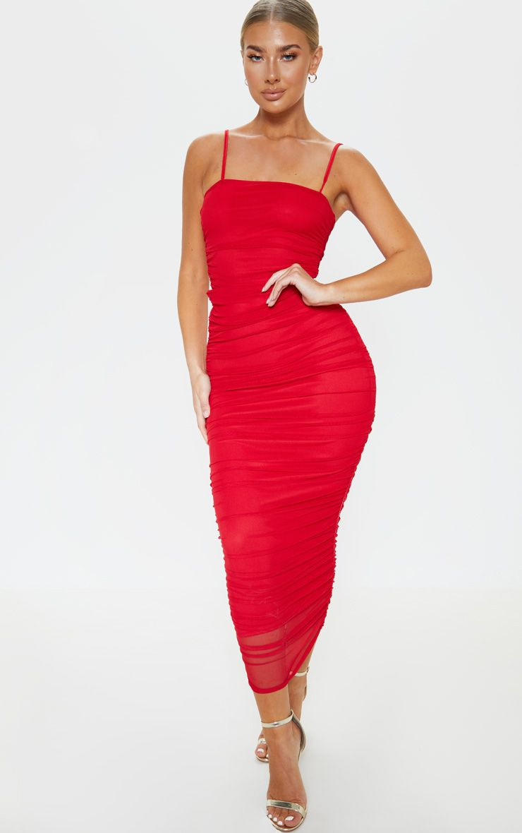 Red Strappy Mesh Ruched Midaxi Dress Red Ruched Dress Dresses Fashion