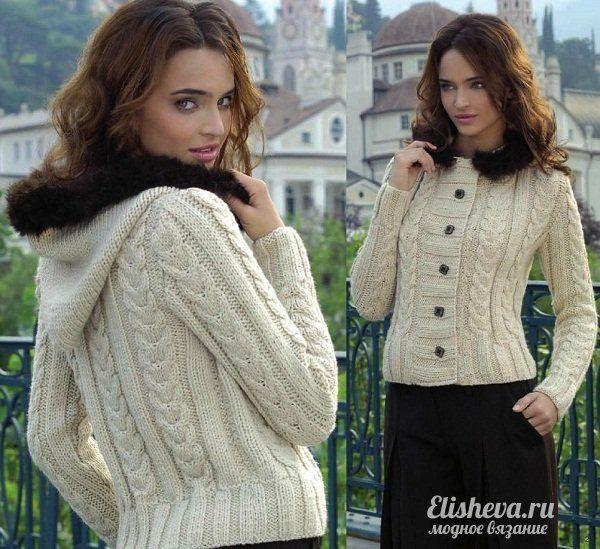 Женская кофта с капюшоном вязаная спицами | Блог elisheva ...