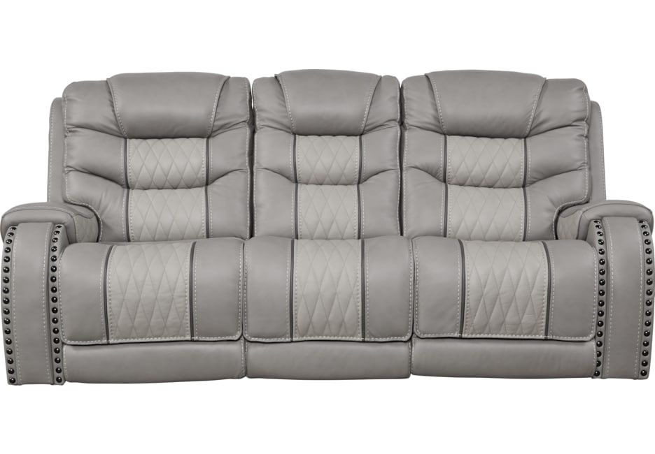 Eric Church Highway To Home Headliner Gray Leather Reclining Sofa