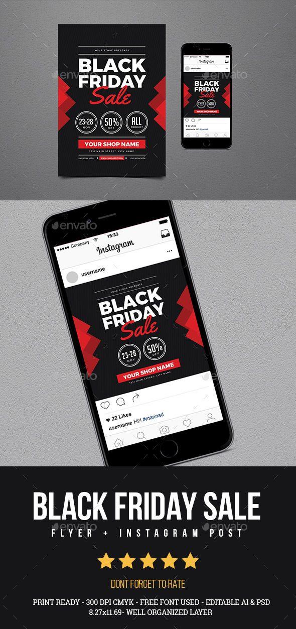 Black Friday Sale Flyer Instagram Post Vol 02 Black Friday