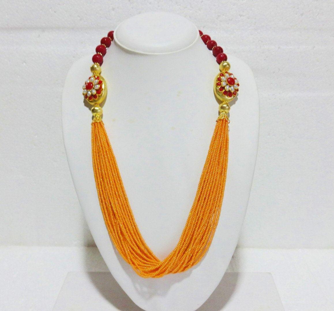 Indian Beaded Statement Necklace - Glass Beads Necklace with ...