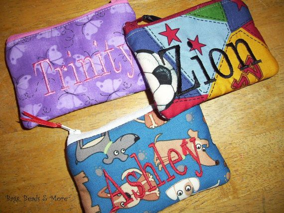 Personalized Coin Purse You Choose Fabric by BagsBeadsandMore, $9.00