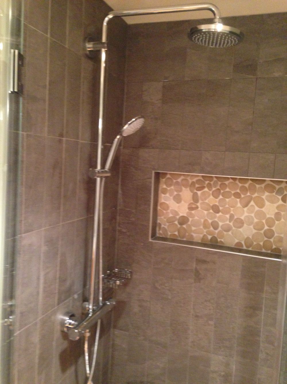 Tiled Shower Edge hans grohe shower system, niche with schluter edge profile & flat
