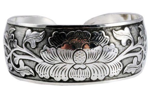 White Metal Flower Tibetan Cuff Bracelet, #7 Hinky Imports. $16.99. Chakra Balancing Protection From Negative Influences. Adjustable Size: One Size Fits All. Hand Crafted By Nepalese Artisans. Made from Alloy. Width: 1 Inch