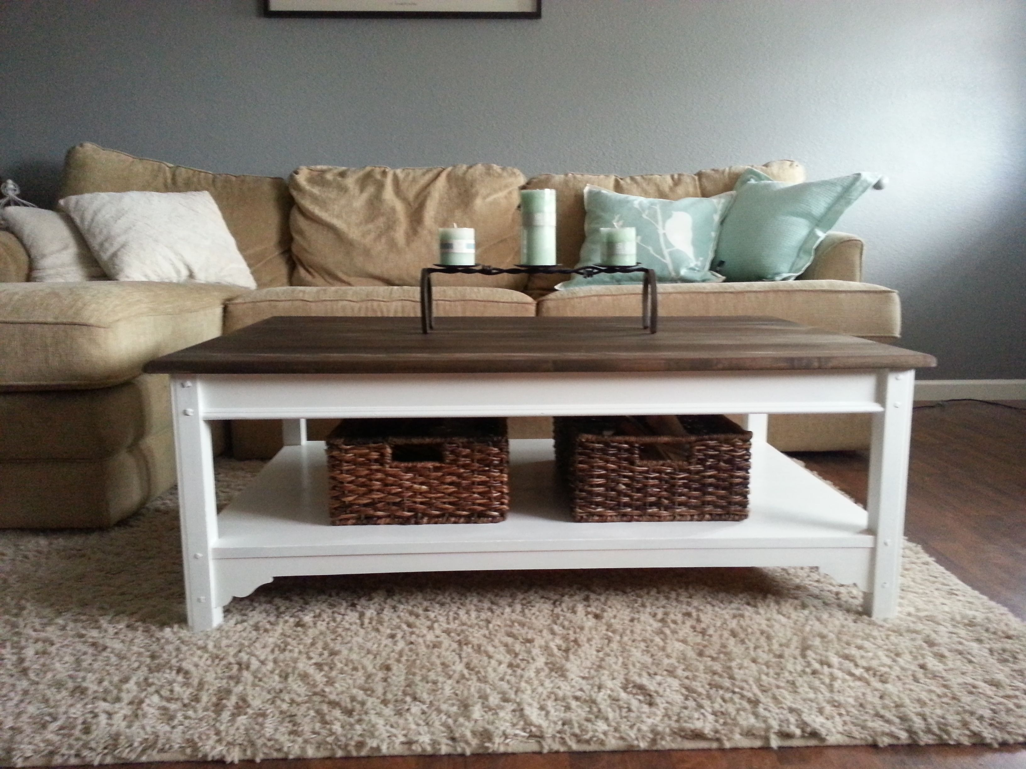LOVE this coffee table Love the baskets underneath also Redone by