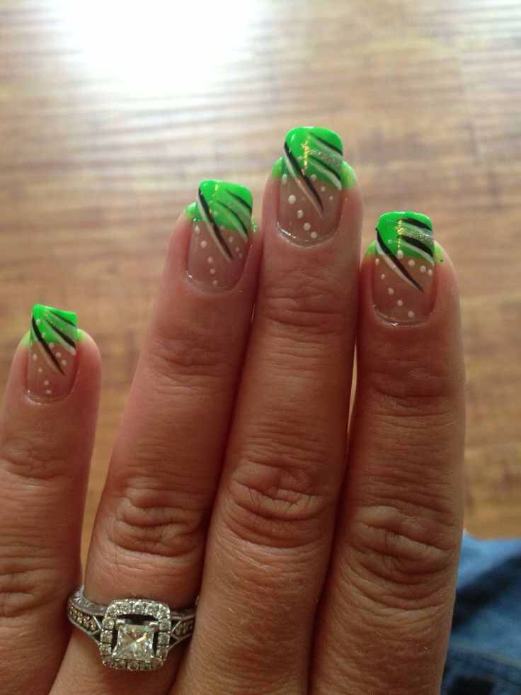 Green French Nails With Black And White Design