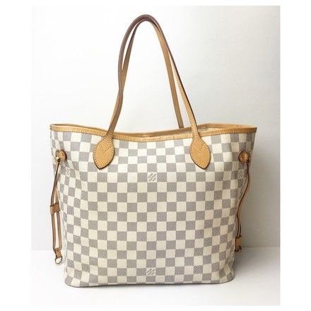 1a717ef897092 Louis Vuitton Beige Blue White Canvas & Leather Neverfull Damier Azur MM  Tote. Get
