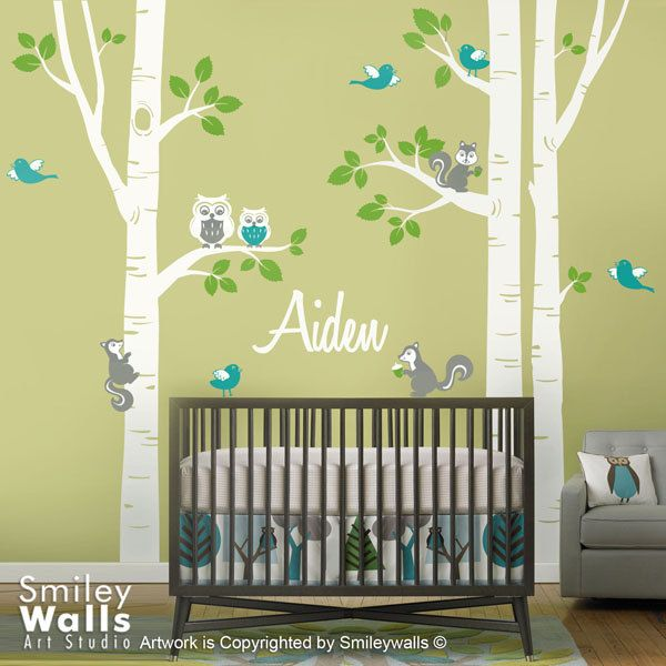 Nursery Wall Decal Birch Trees Forest Animals Kids Personalized Wall ...