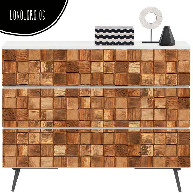 Mosaico de maderas r sticas maderas vinilos lavables for Parquet vinilo adhesivo