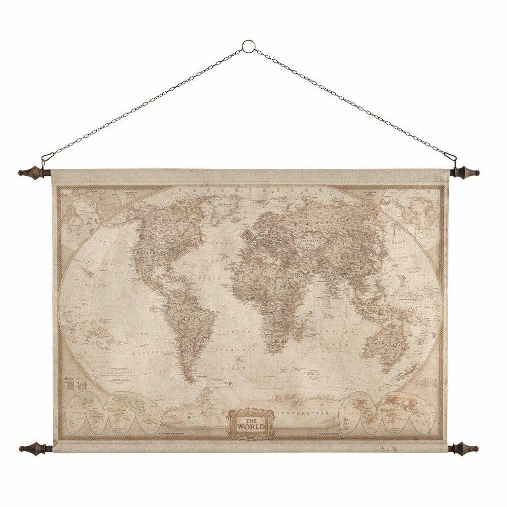 Wanddecoratie, wereldkaart, 117 x 129 cm, EXPLORATEUR