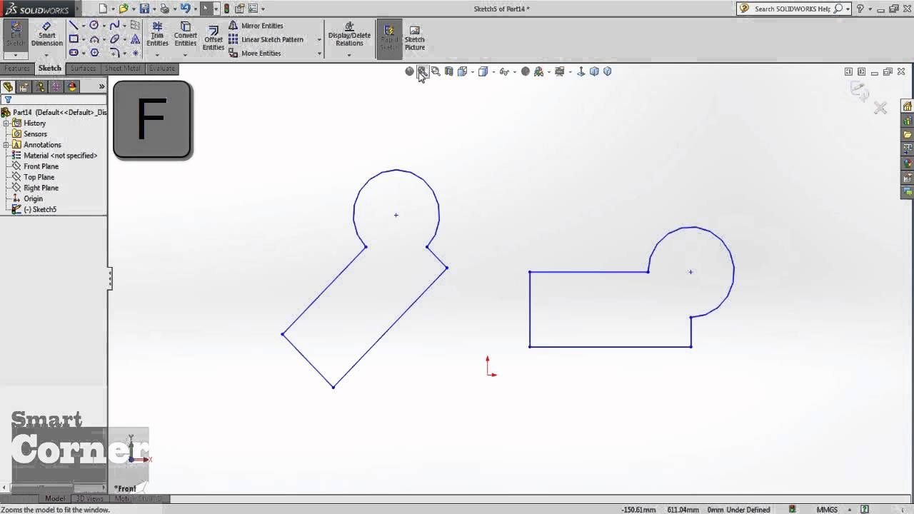 Move Entities And Pattern In Solidworks By Smart Corner تحريك الاسكتش و تكراره Solidworks Learning Pattern
