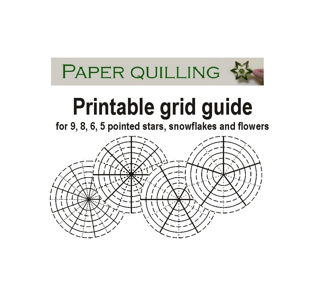Printable quilling grid guide for 5, 6, 8, 9 pointed stars